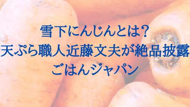 雪下ニンジン 近藤文夫 ごはんジャパン
